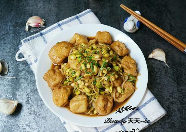 素菜吃出肉滋味——自制黄豆芽炒油豆腐果的做法