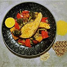 彩虹三文鱼烤时蔬