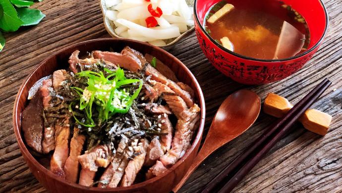 简单快速的日式牛排丼(盖饭)