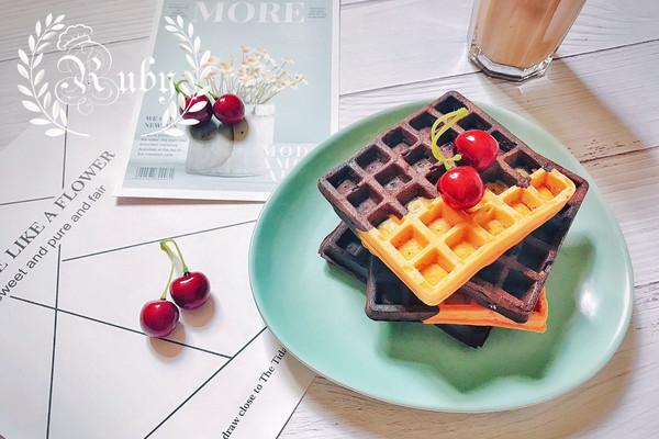 美味营养且低脂的早餐粗粮双色华夫饼的做法