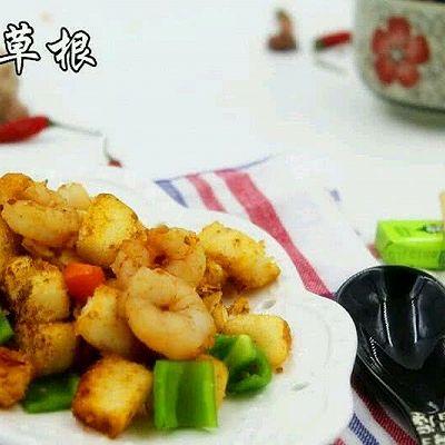 杂蔬虾仁炒馒头