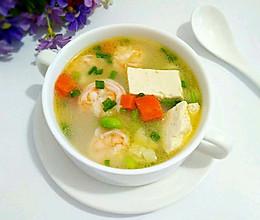 虾仁豆腐毛豆汤的做法
