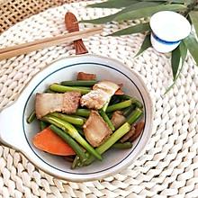 肉烧蒜苔(回锅肉版,下酒菜)