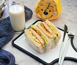香煎厚厚虾饼三明治的做法