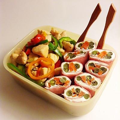 【天天便当】彩椒炒鸡肉配奶酪火腿蔬菜卷便当