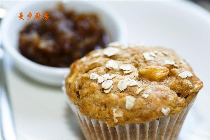 曼步厨房 - 健康美味低脂 - 苹果肉桂燕麦马芬