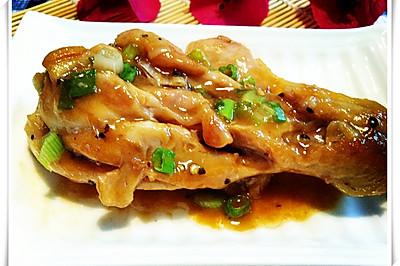 葱香黑椒煎鸡腿