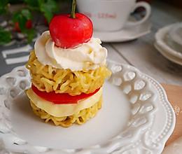 芝士奶油塔塔面#小虾创意料理#的做法