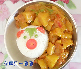 咖喱粉版—土豆咖喱饭(独家猪头饭团^_^)的做法
