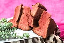 红曲戚风蛋糕块的做法