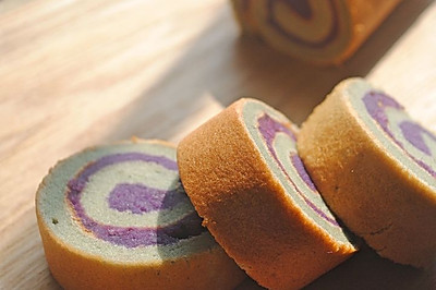 紫薯戚风蛋糕卷#沃康山茶油#