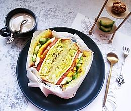 简单快手三明治 低脂减肥牛油果三明治。的做法