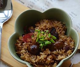 美善品腊肠香菇栗子焖饭的做法