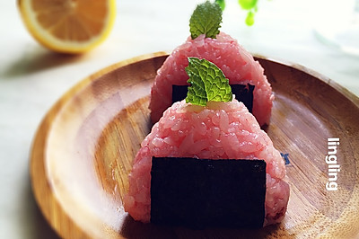 复刻~蔓越莓樱花饭团#莓汁莓味#