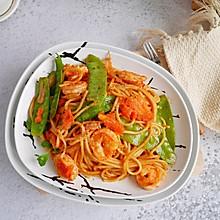 #520,美食撩动TA的心!番茄虾仁意面  秒杀西餐厅