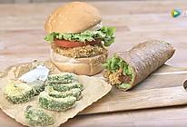 自制非油炸牛油果汉堡+卷饼+薯条的做法