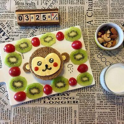 儿童早餐—小猴子照烧三文鱼蔬菜三明治