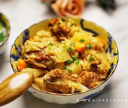 有饭有肉一锅搞定~土豆排骨焖饭的做法