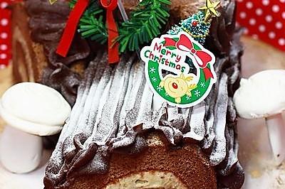 巧克力栗蓉树根蛋糕