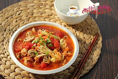 口蘑番茄炒花菜