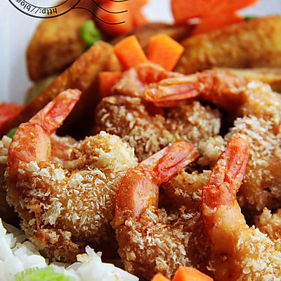 【炸虾】留学生便当③:炸虾+土豆角+胡萝卜