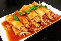 #尽享安心亲子食刻#鸡汁金针菇豆皮卷的做法