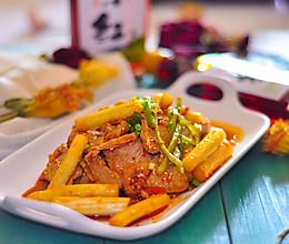 白芦笋红油拌猪肉的做法