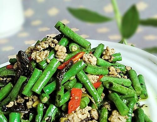 肉末橄榄炒豇豆