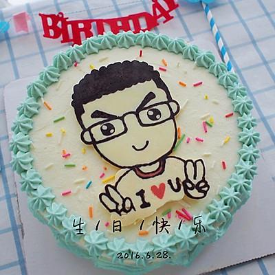 卡通奶油生日蛋糕(巧克力转印)