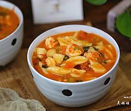 番茄虾仁剪刀面---开胃面食的做法