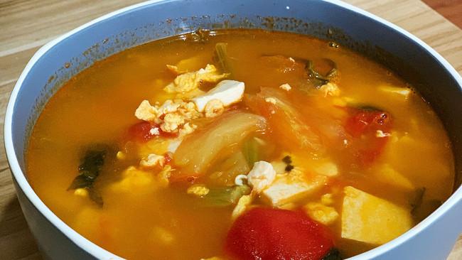 西红柿豆腐菠菜汤的做法