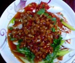 大葱拌豆豉的做法