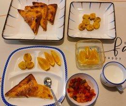 奶酪吐司、香蕉炸盒的做法