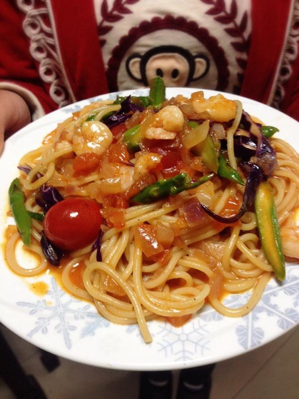 虾仁芦笋茄汁意面