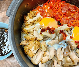 #一人一道拿手菜#小姨妈快手电饭锅版煲仔饭,配葱香酱油的做法