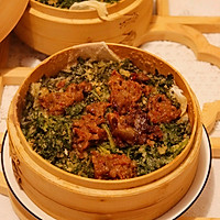 #白色情人节限定美味#自制蒸米粉-粉蒸茼蒿菜的做法图解2