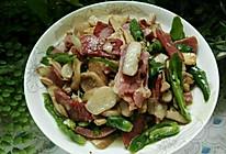 青椒火腿炒野生牛肝菌的做法