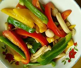 彩椒炒白玉菇的做法