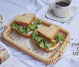 #花10分钟,做一道菜!#吞拿鱼火腿三明治的做法