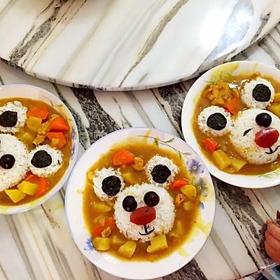 不用磨具的小熊咖喱饭