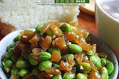 姜末包瓜炒毛豆
