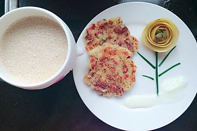 改良版减脂餐之超浓郁奶香土豆泥蔬菜饼,配上香梨香蕉奶昔