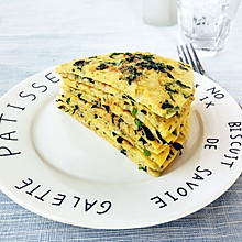 茼蒿米饭鸡蛋饼