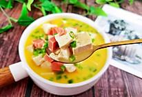 天冷了,给家人做1碗温暖的火腿金沙豆腐的做法