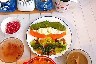 不重样早餐~焗吐司配香菇油菜
