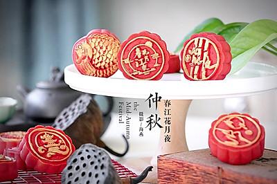 春江花月夜--苦荞红丝绒月饼