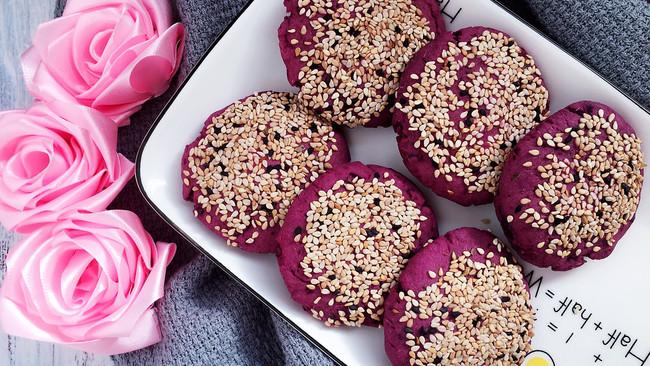 紫薯红豆糯米饼(烤箱版)的做法