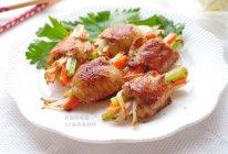 彩蔬煎鸡翅的做法