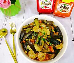 #一勺葱伴侣,成就招牌美味#虾仁茄子煲低脂美味不需油炸茄子的做法