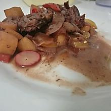 香煎猪肉炖红酒苹果